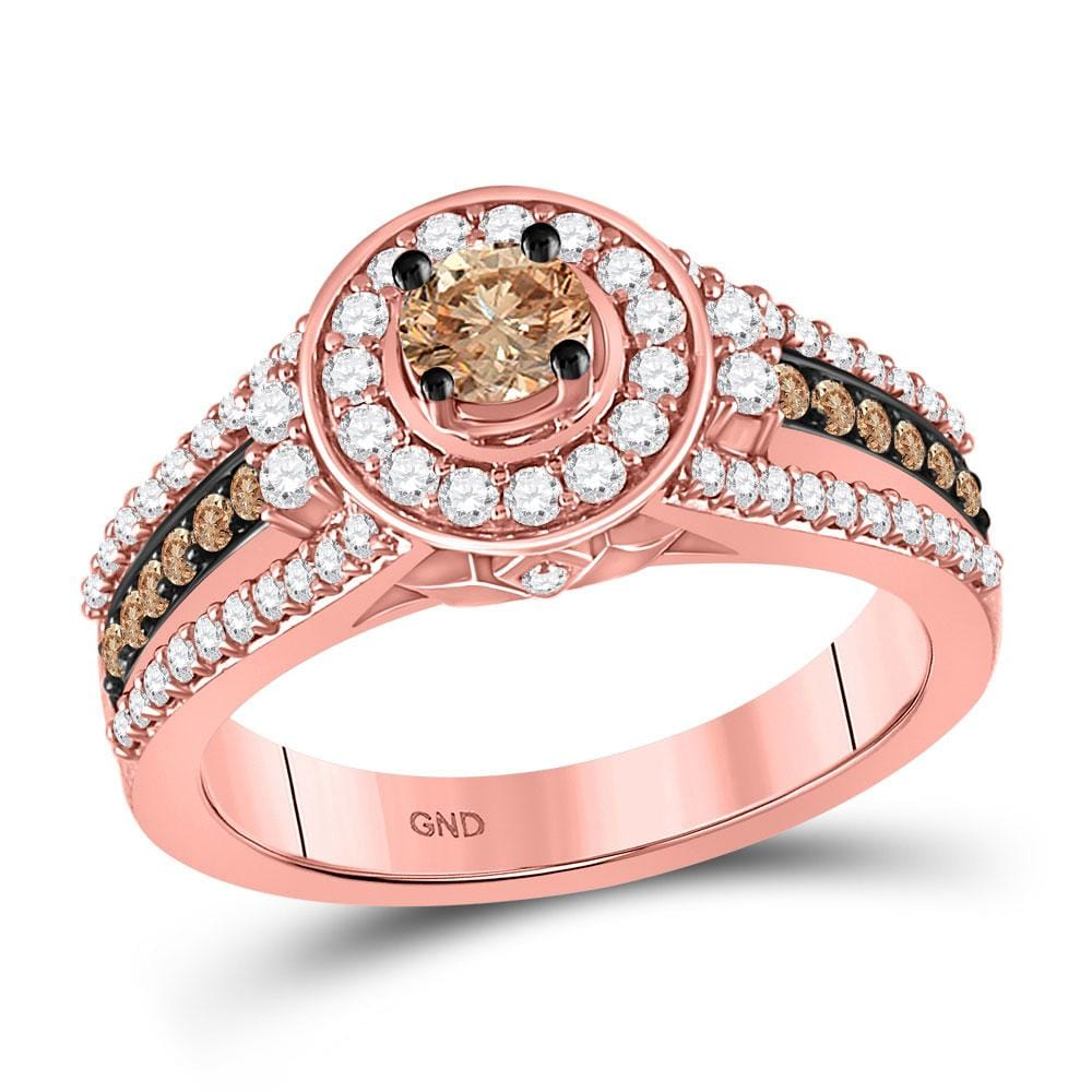 14kt Rose Gold Round Brown Diamond Solitaire Bridal Wedding Engagement Ring 1 Cttw