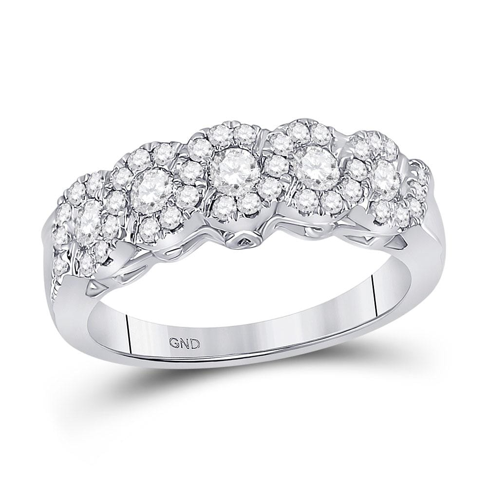 14kt White Gold Womens Round Diamond 5-Stone Band Ring 3/4 Cttw
