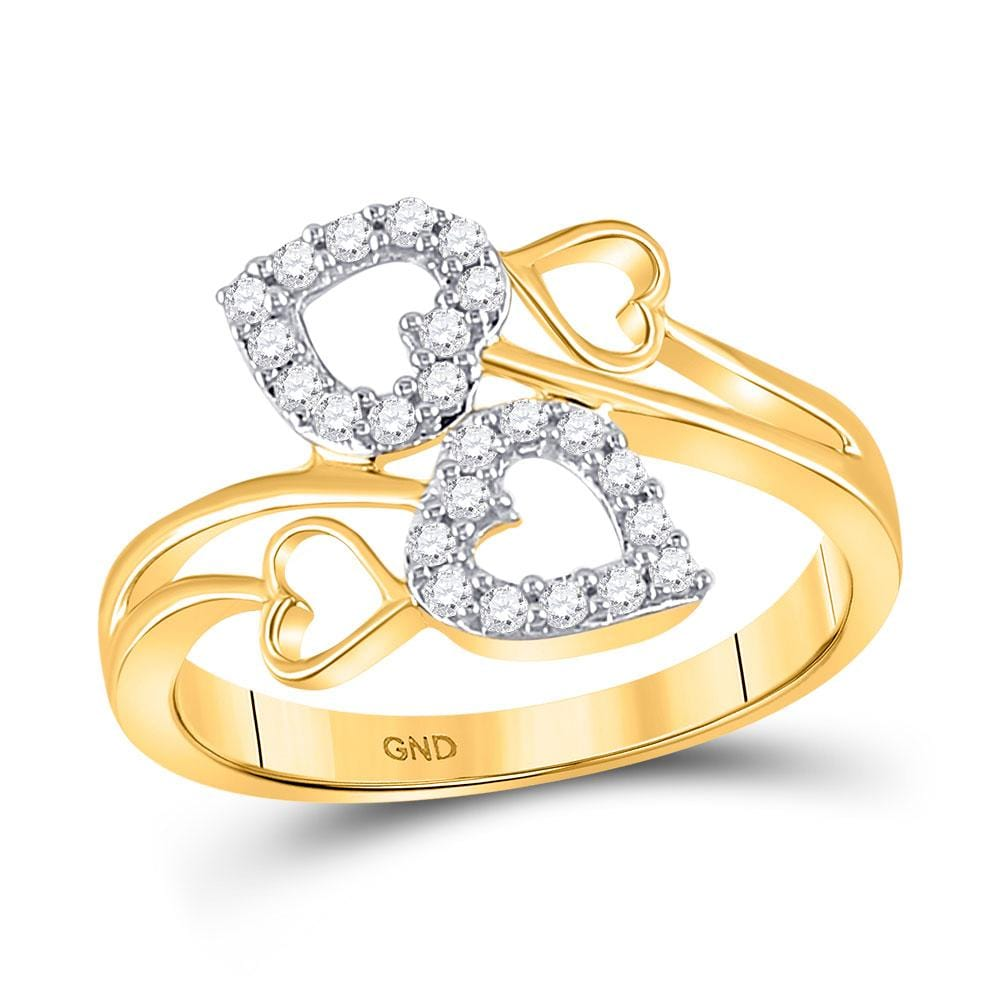 10kt Yellow Gold Womens Round Diamond Double Heart Ring 1/4 Cttw