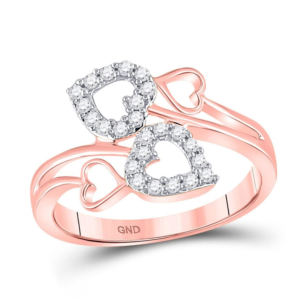 10kt Rose Gold Womens Round Diamond Double Heart Ring 1/4 Cttw