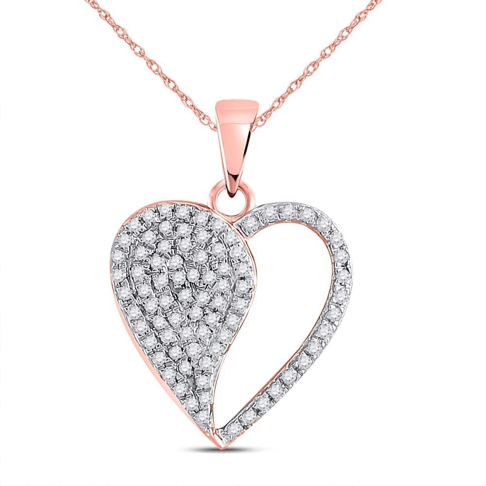 10kt Rose Gold Womens Round Diamond Modern Heart Pendant 1/3 Cttw