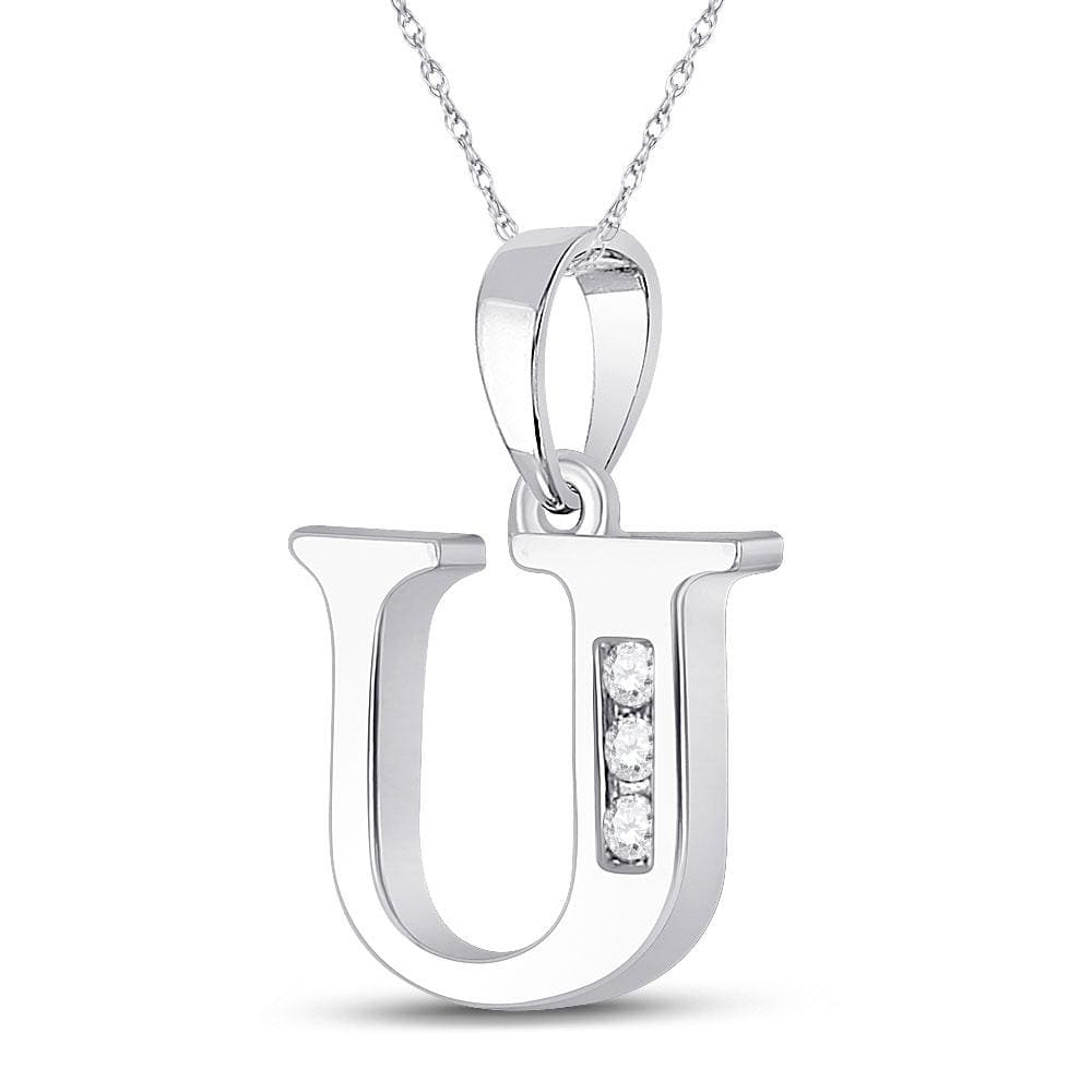 10kt White Gold Womens Round Diamond U Initial Letter Pendant 1/20 Cttw