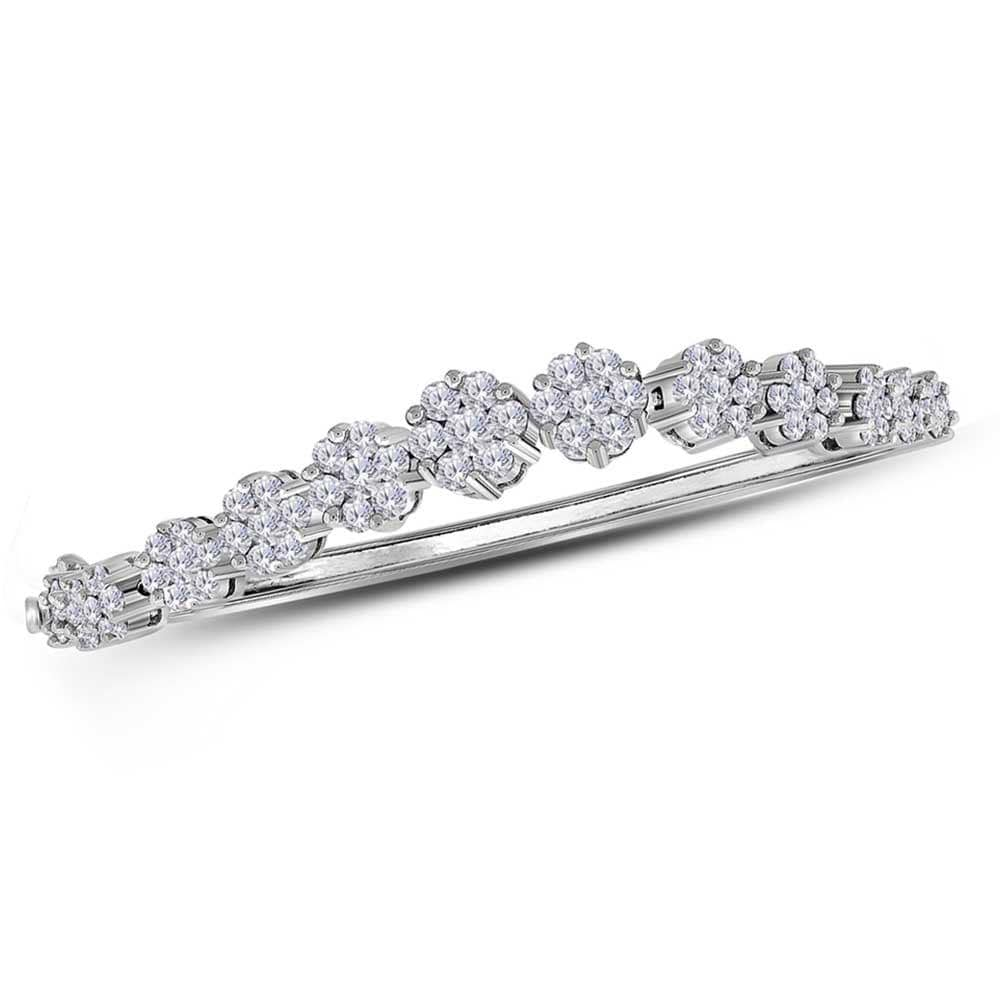 14kt White Gold Womens Round Diamond Flower Cluster Bangle Bracelet 2-5/8 Cttw