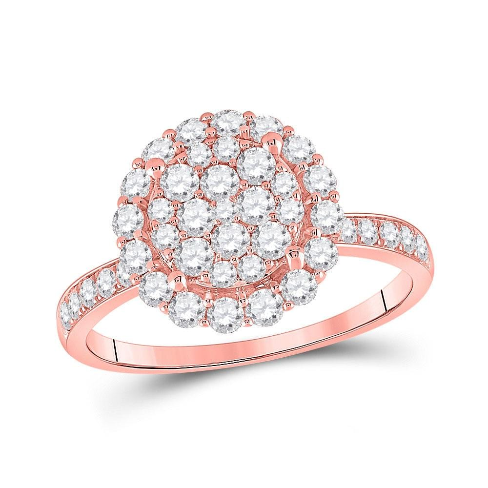 14kt Rose Gold Womens Round Diamond Halo Cluster Ring 1 Cttw