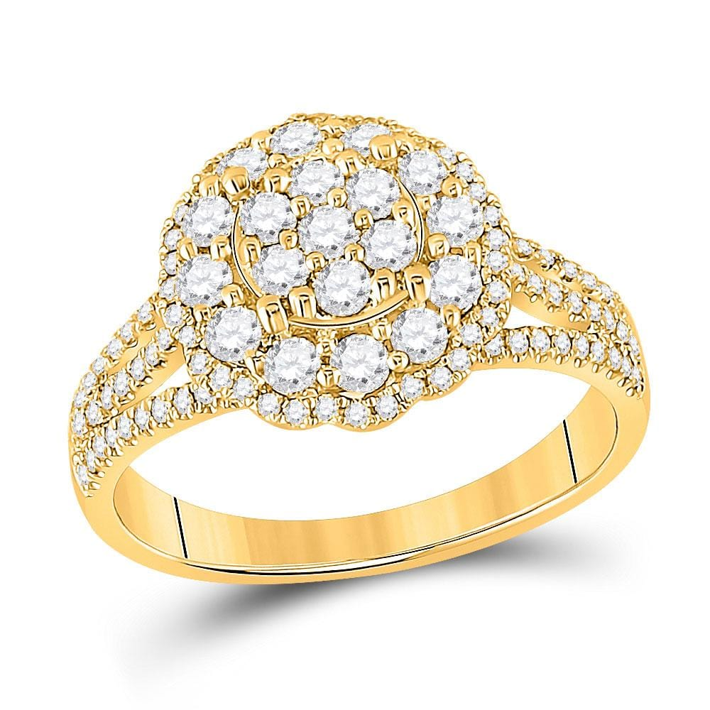 14kt Yellow Gold Womens Round Diamond Halo Flower Cluster Ring 7/8 Cttw