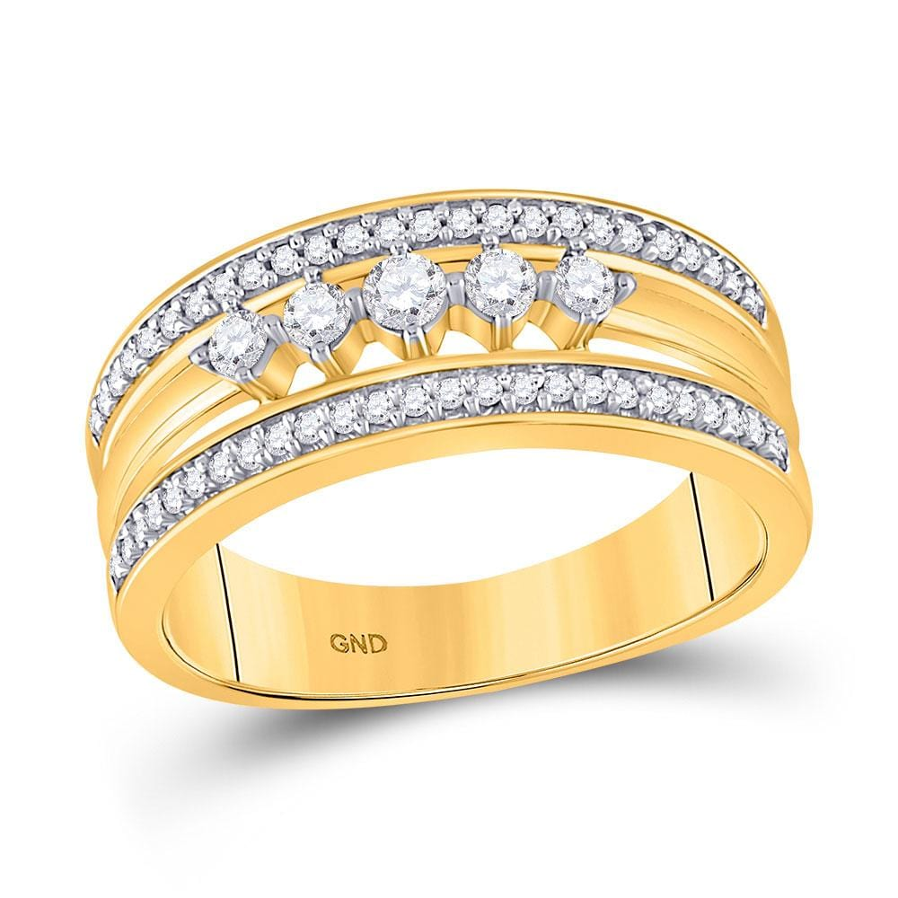 10kt Yellow Gold Womens Round Diamond 5-Stone Band Ring 1/3 Cttw