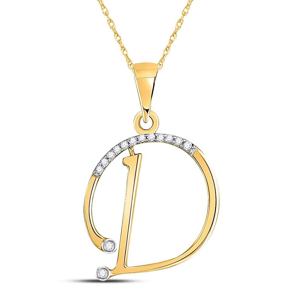 10kt Yellow Gold Womens Round Diamond D Initial Letter Pendant 1/12 Cttw