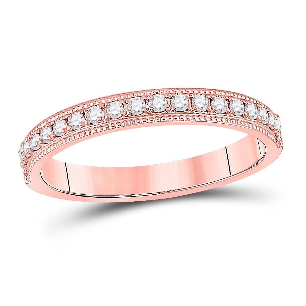 14kt Rose Gold Womens Round Diamond Single Row Band Ring 1/4 Cttw