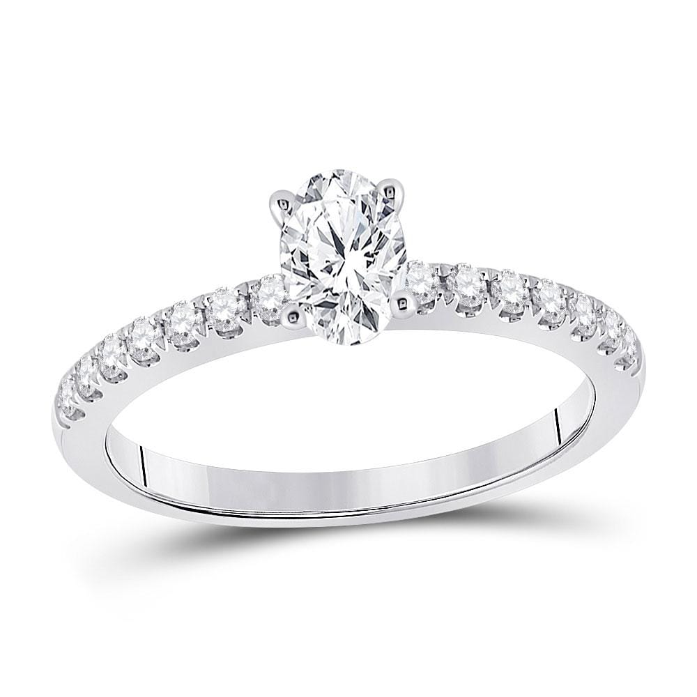 14kt White Gold Oval Diamond Solitaire Bridal Wedding Engagement Ring 3/4 Cttw