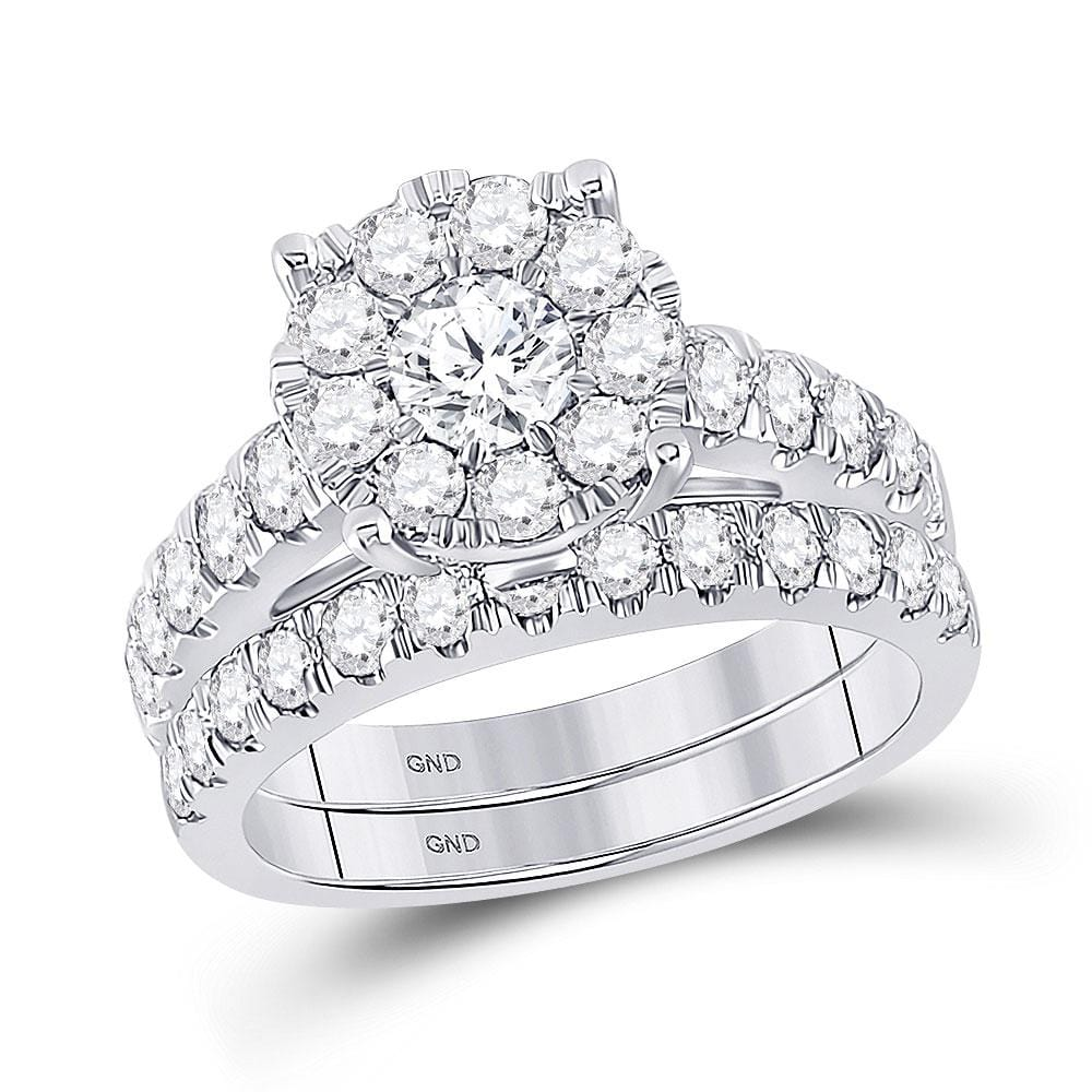 14kt White Gold Round Diamond Bridal Wedding Ring Band Set 2 Cttw
