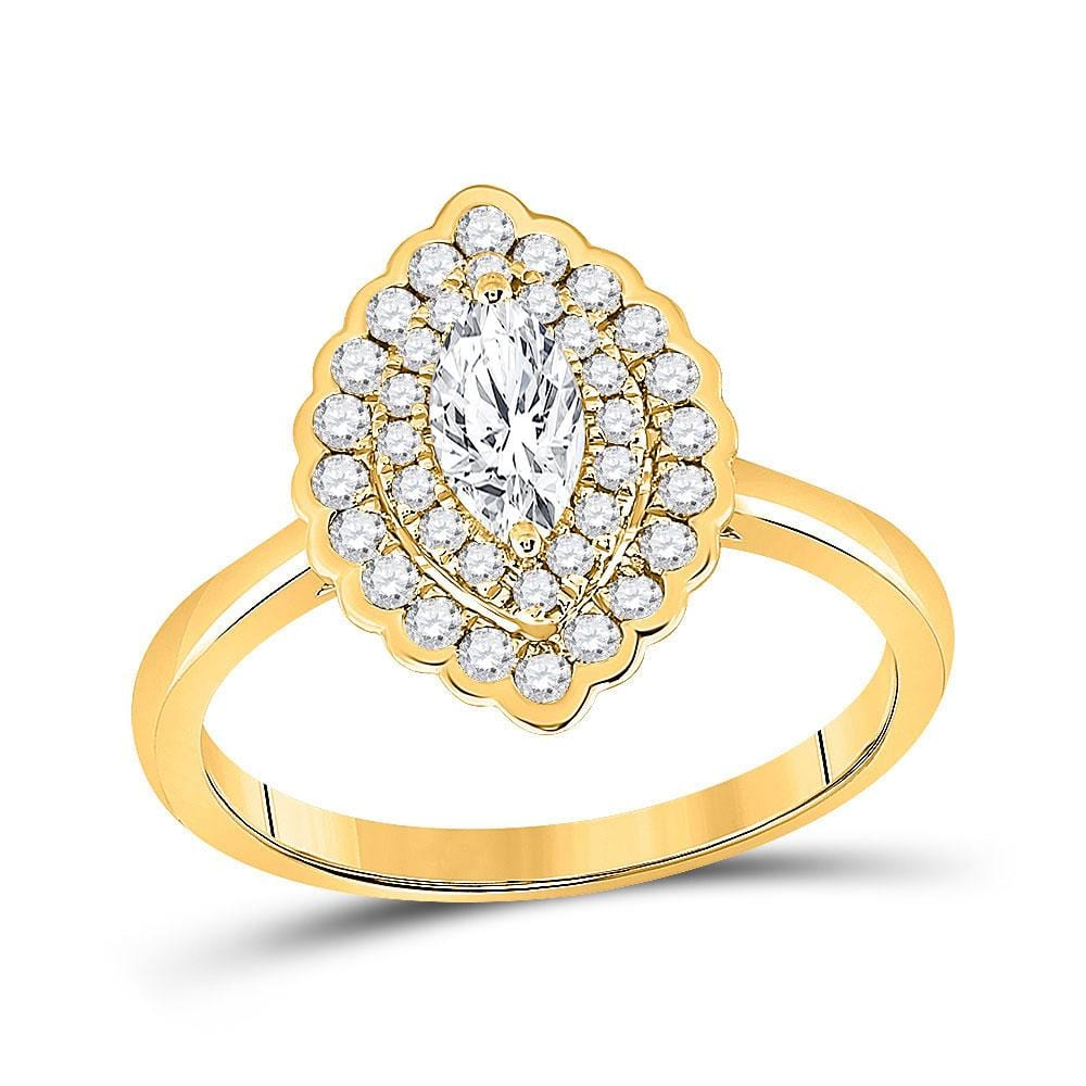 14kt Yellow Gold Marquise Diamond Halo Bridal Wedding Engagement Ring 3/4 Cttw