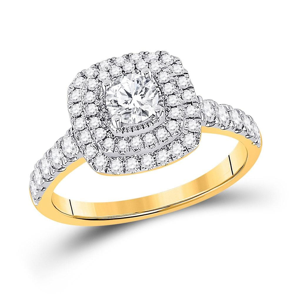 14kt Yellow Gold Round Diamond Halo Bridal Wedding Engagement Ring 1 Cttw