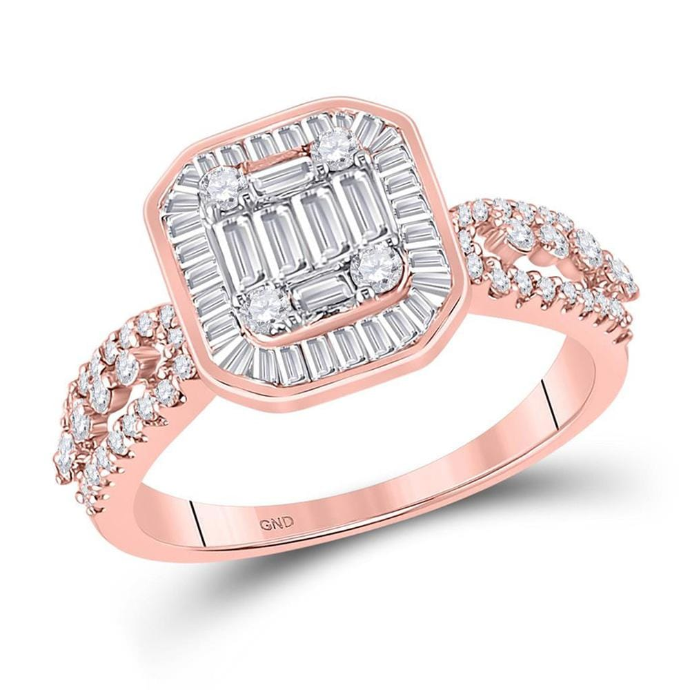 14kt Rose Gold Womens Baguette Diamond Square Cluster Ring /8 Cttw