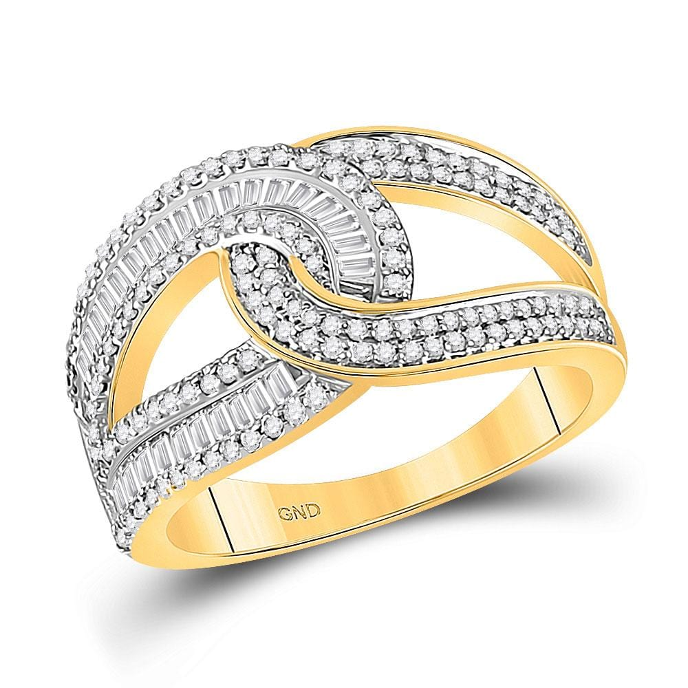 14kt Yellow Gold Womens Round Diamond Intertwined Baguette Band Ring 3/4 Cttw