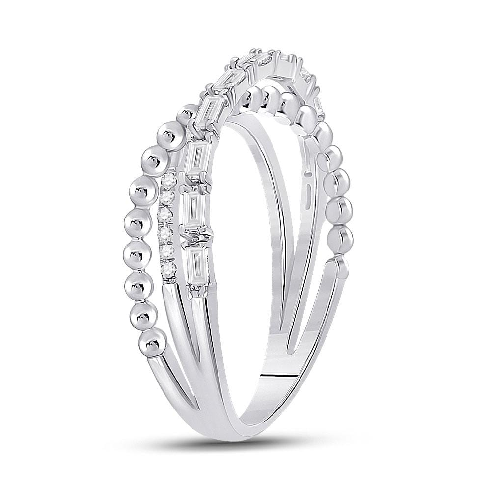 14kt White Gold Womens Baguette Diamond Crossover Band Ring 1/3 Cttw