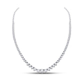 14kt White Gold Womens Round Diamond Graduated Cocktail Necklace 4-1/2 Cttw
