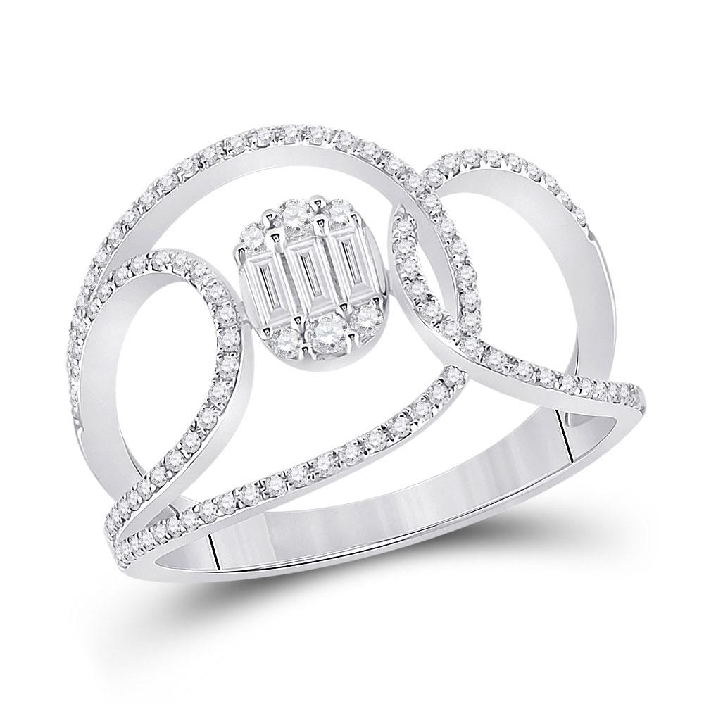14kt White Gold Womens Baguette Diamond Open Loop Cluster Fashion Ring 1/2 Cttw