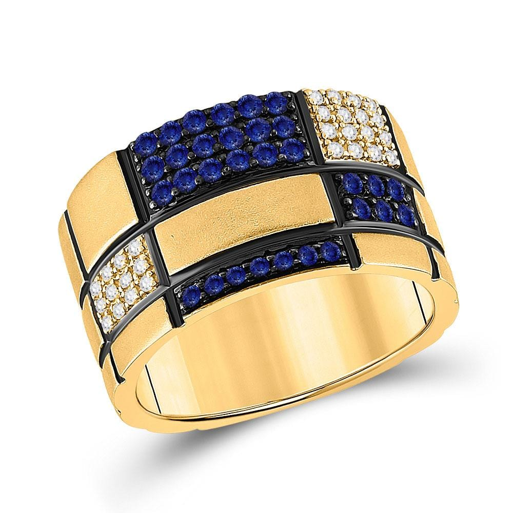 14kt Yellow Gold Mens Round Blue Sapphire Checkered Band Ring 5/8 Cttw