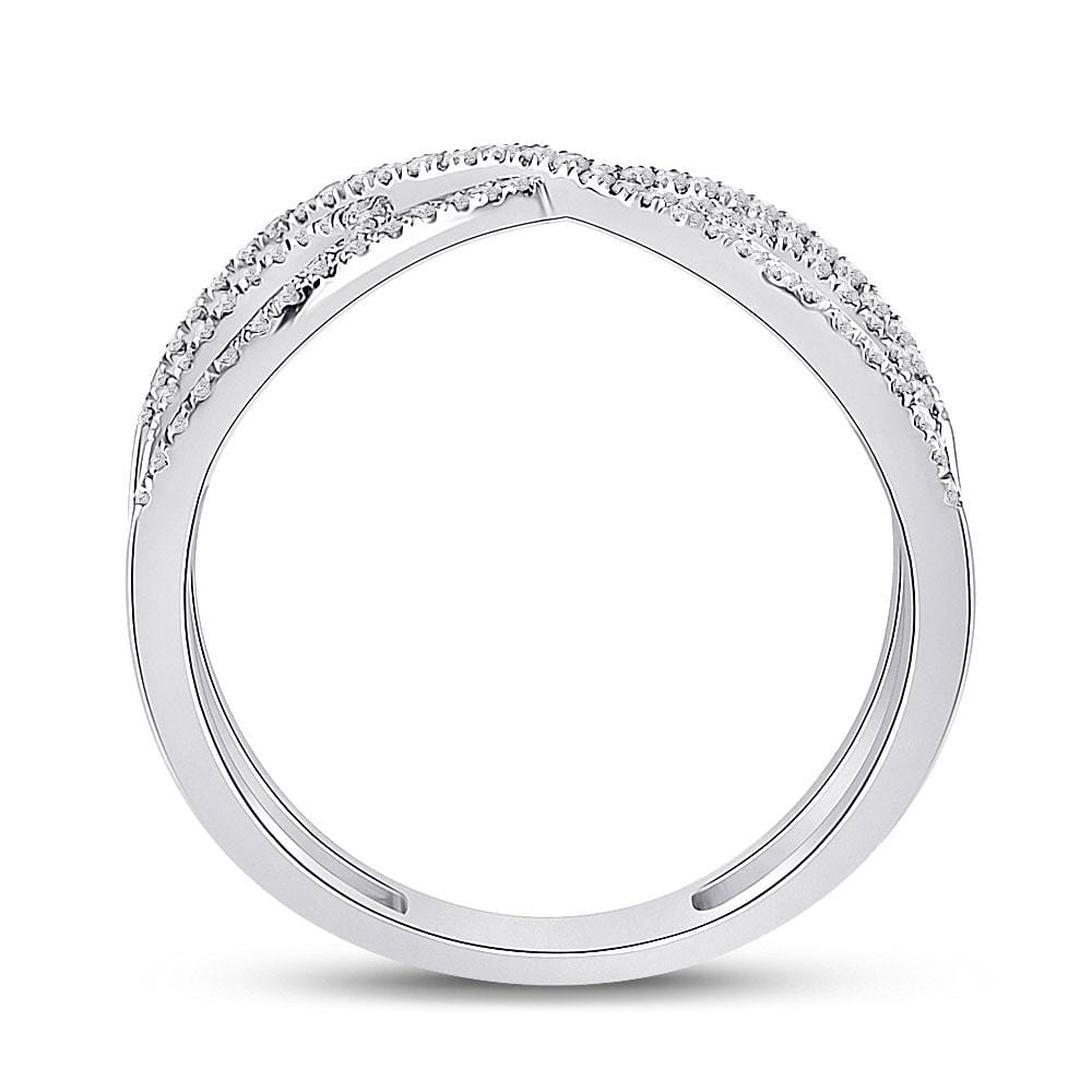 10kt White Gold Womens Round Diamond Crossover Fashion Ring 1/3 Cttw