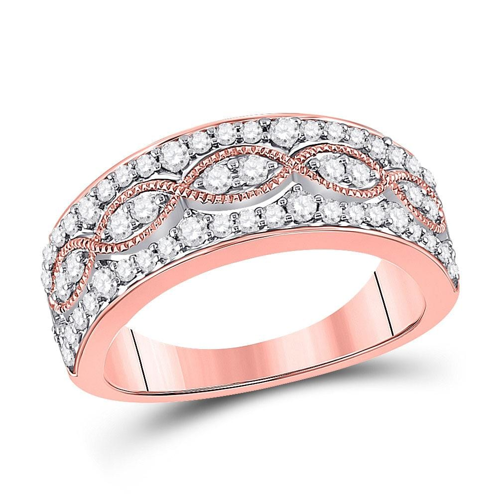 14kt Rose Gold Womens Round Diamond Fashion Twist Band Ring 5/8 Cttw
