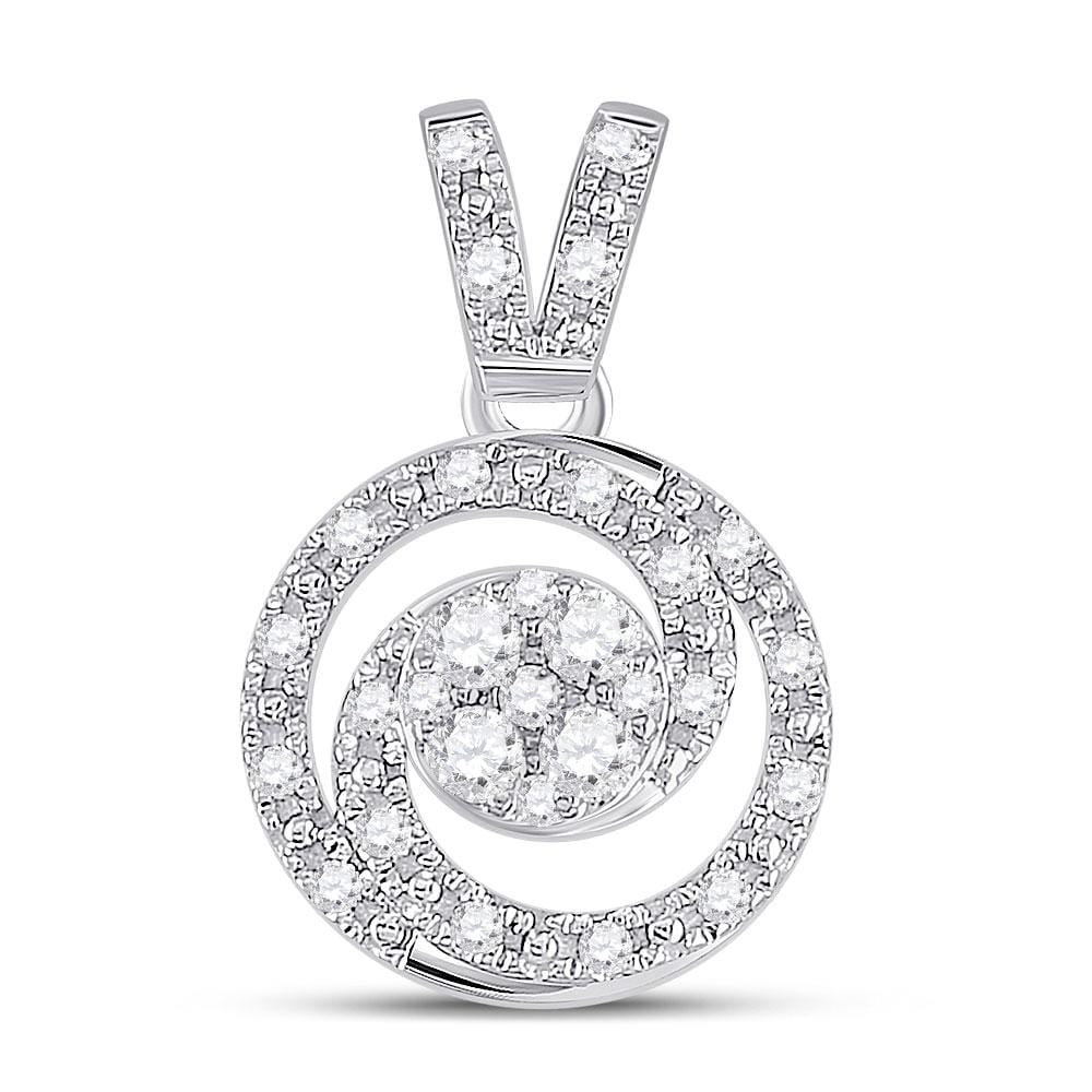 14kt White Gold Womens Round Diamond Circle Swirl Cluster Pendant 1/5 Cttw