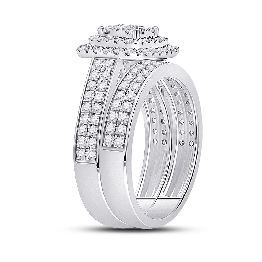 14kt White Gold Round Diamond Bridal Wedding Ring Band Set 1-3/8 Cttw