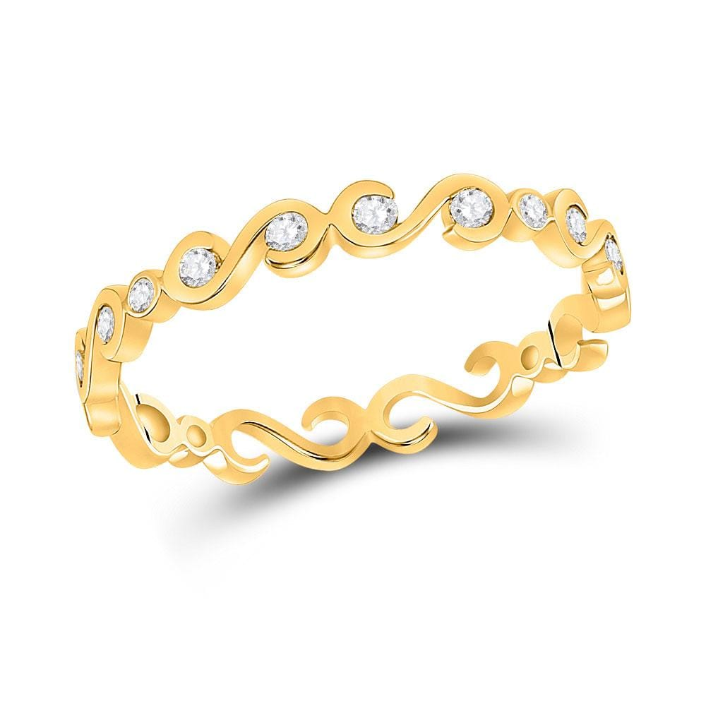10kt Yellow Gold Womens Round Diamond S-Shape Stackable Band Ring 1/8 Cttw