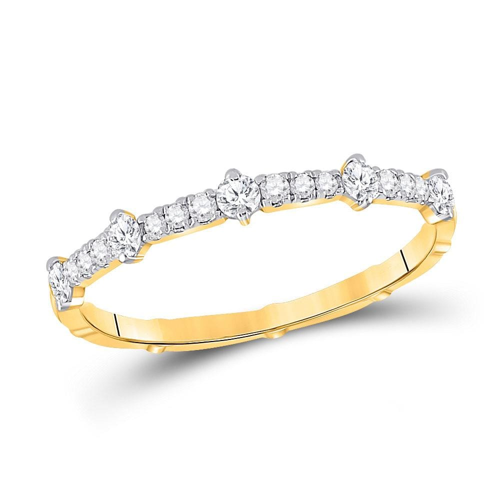 10kt Yellow Gold Womens Round Diamond 5-Stone Stackable Band Ring 1/4 Cttw