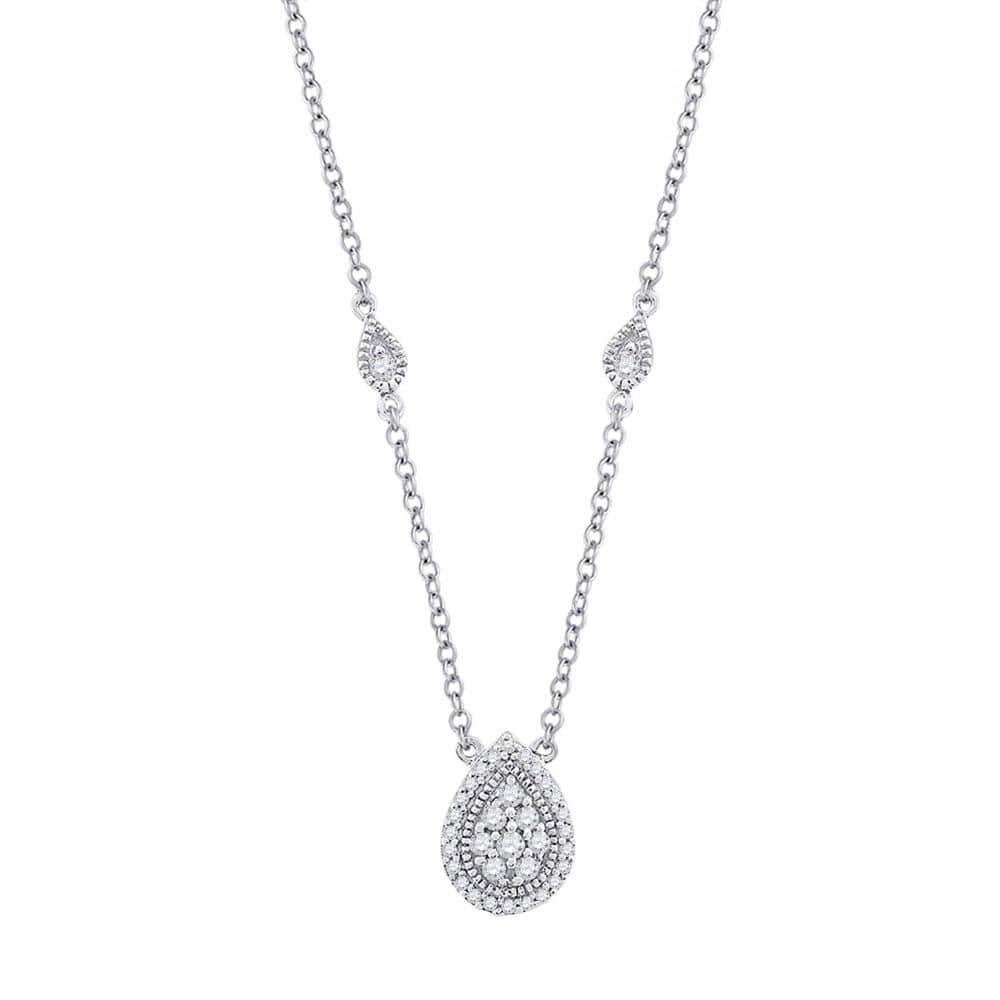 10kt White Gold Womens Round Diamond Teardrop Necklace 1/5 Cttw