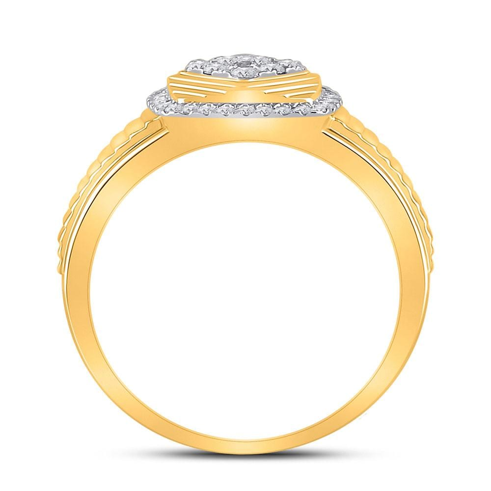 10kt Yellow Gold Mens Round Diamond Ribbed Square Cluster Ring 1/2 Cttw