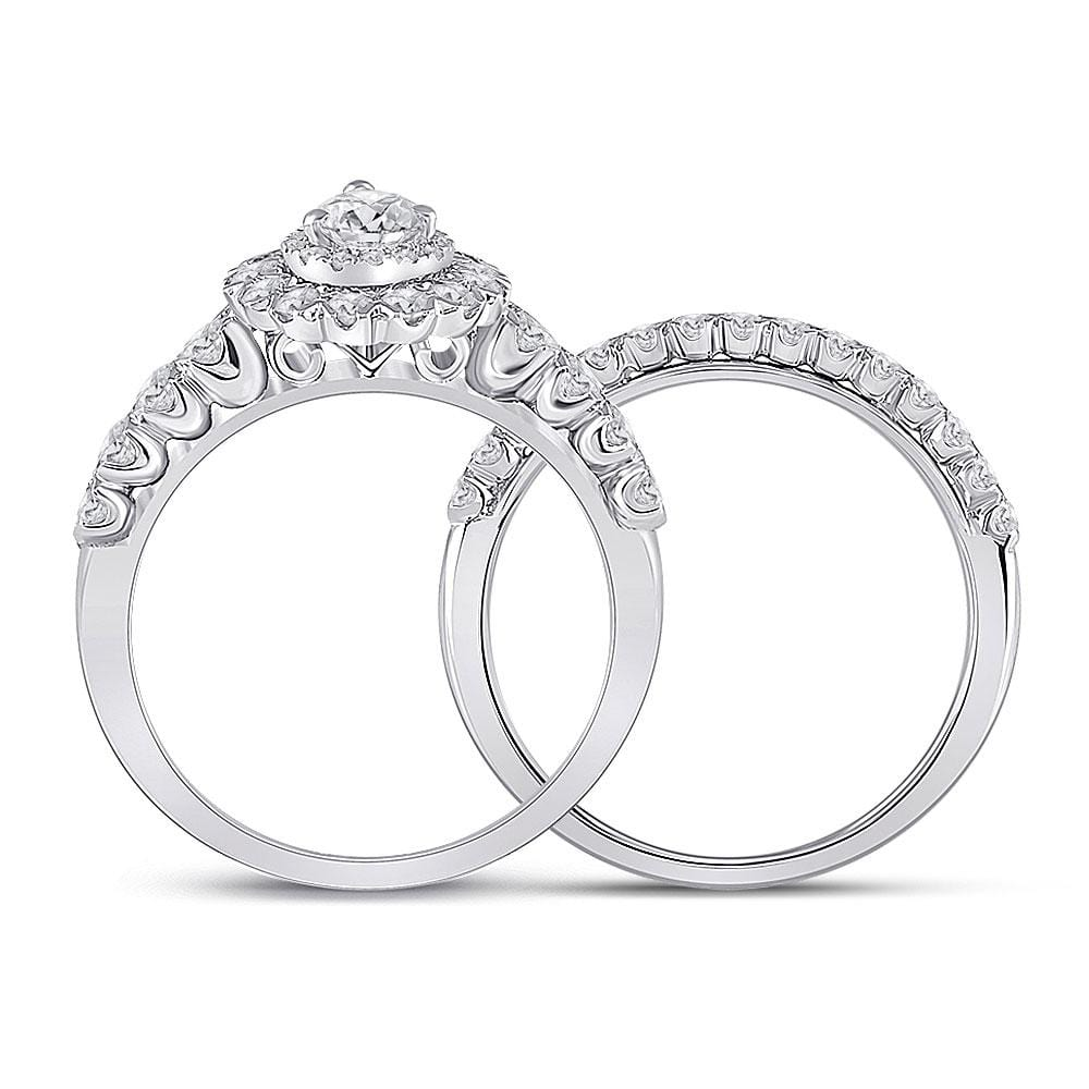 14kt White Gold Pear Diamond Solitaire Bridal Wedding Ring Band Set 1-1/2 Cttw