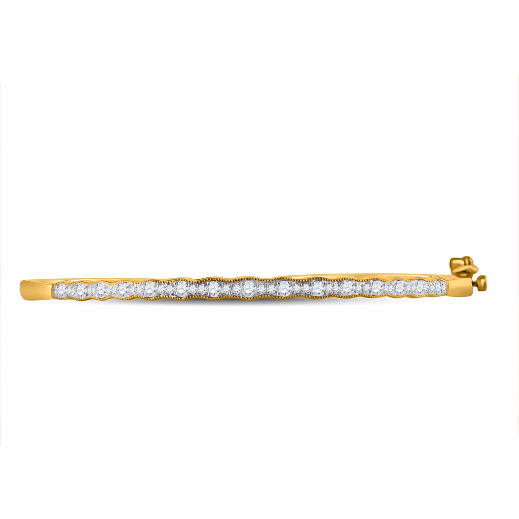 10kt Yellow Gold Womens Round Diamond Bangle Bracelet 1/2 Cttw