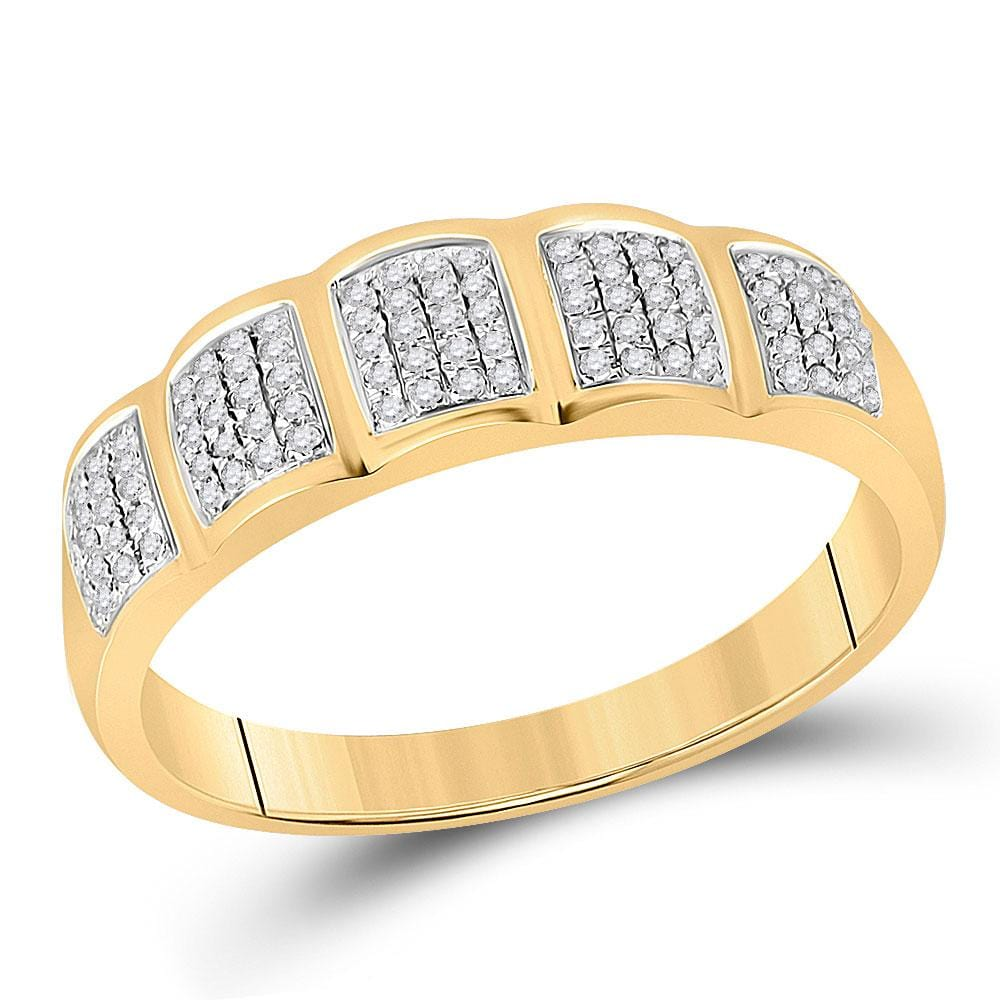 10kt Yellow Gold His Hers Round Diamond Halo Matching Wedding Set 7/8 Cttw
