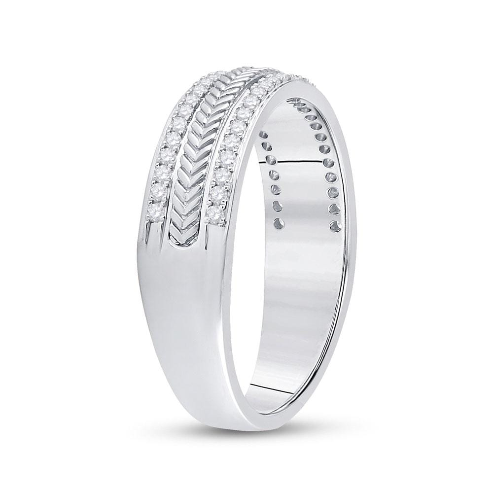 14kt White Gold Mens Round Diamond Wedding Wheat Texture Band Ring 1/3 Cttw