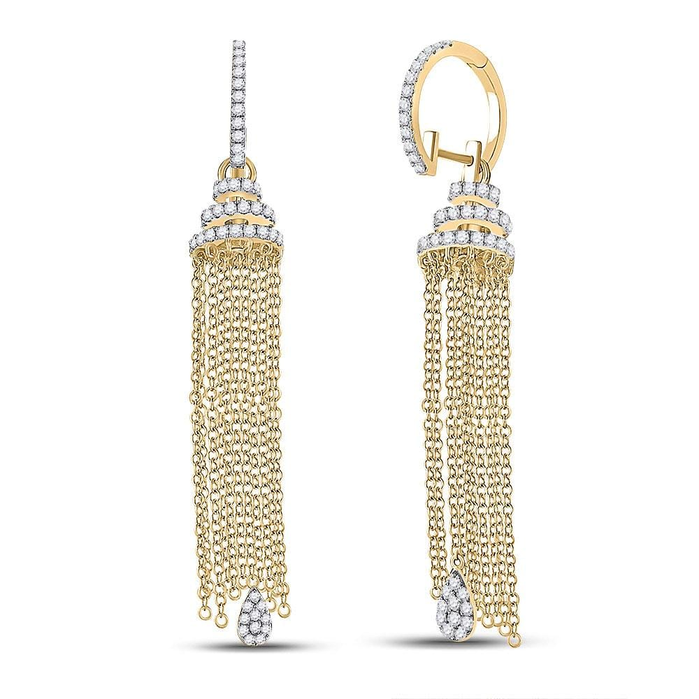 14kt Yellow Gold Womens Round Diamond Chain Teardrop Dangle Earrings 1-5/8 Cttw