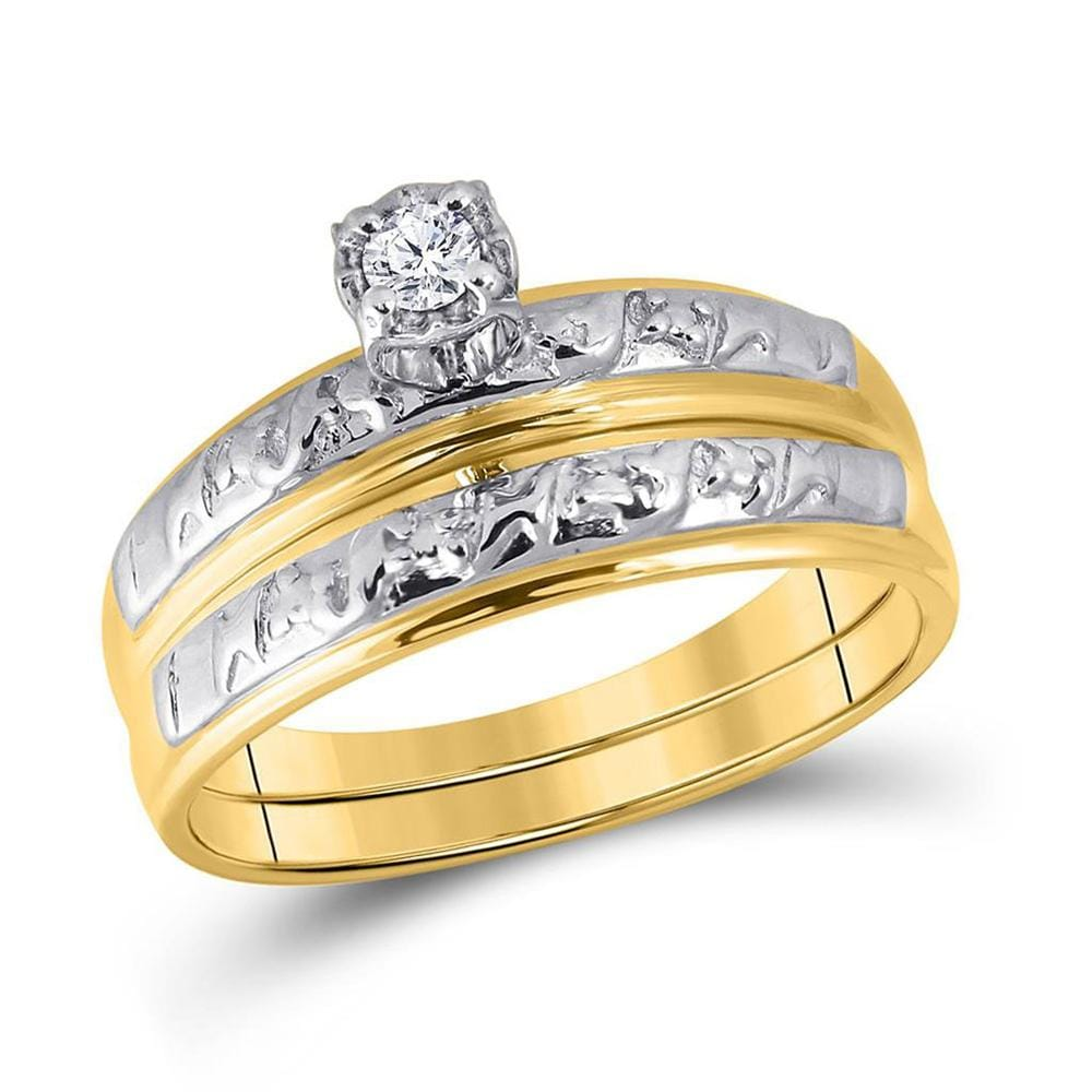10kt Yellow Gold His Hers Round Diamond Solitaire Matching Wedding Set 1/20 Cttw