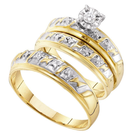 10kt Yellow Gold His & Hers Round Diamond Solitaire Matching Bridal Wedding Ring Band Set 1/12 Cttw