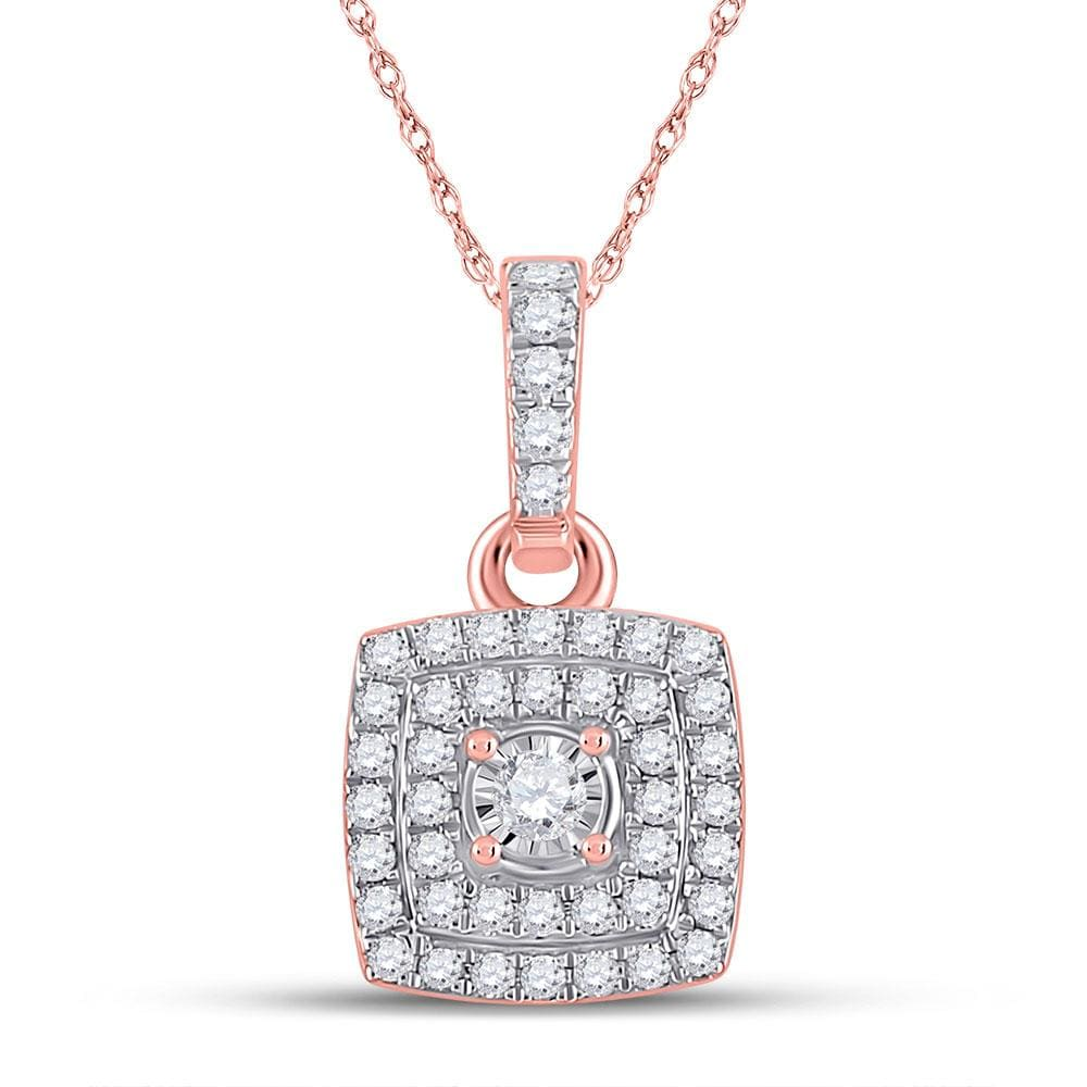 10kt Rose Gold Womens Round Diamond Square Pendant 1/4 Cttw