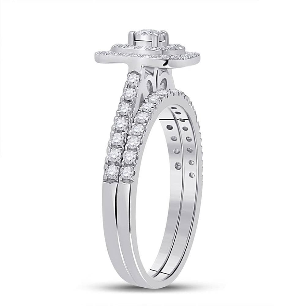 10kt White Gold Round Diamond Halo Bridal Wedding Ring Band Set 1/4 Cttw