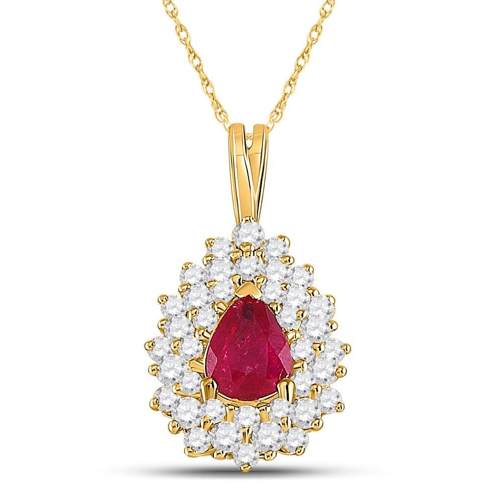 14kt Yellow Gold Womens Pear Ruby Diamond Solitaire Pendant 3/4 Cttw