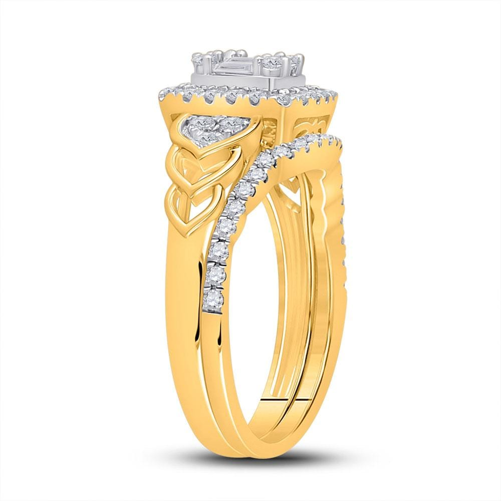 14kt Yellow Gold Baguette Diamond Bridal Wedding Ring Band Set 3/4 Cttw