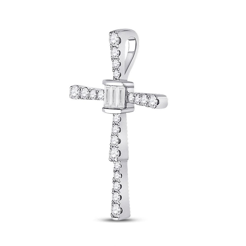 14kt White Gold Womens Baguette Diamond Cross Pendant 5/8 Cttw