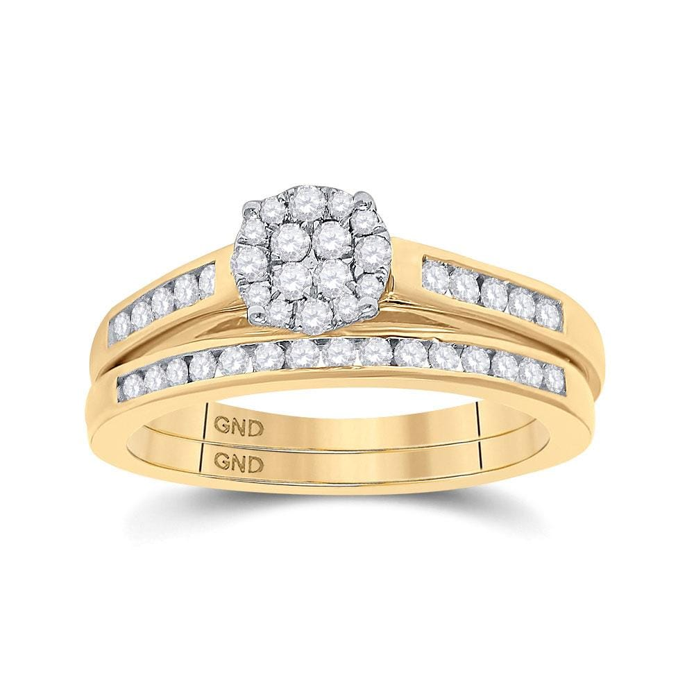14kt Yellow Gold Round Diamond Cluster Bridal Wedding Ring Band Set 1/2 Cttw