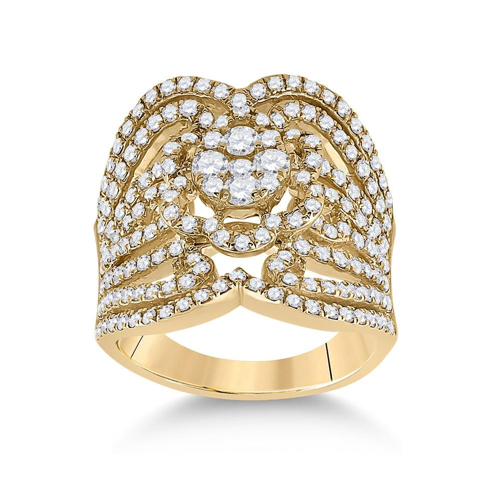 14kt Yellow Gold Womens Round Diamond Fashion Ring 1-1/2 Cttw