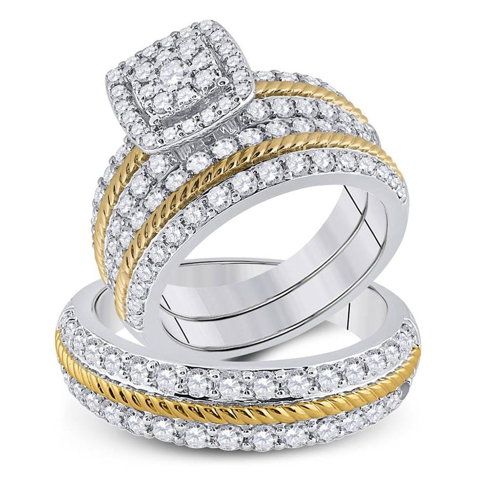 14kt Two-tone Gold His Hers Round Diamond Square Matching Wedding Set 2-3/8 Cttw