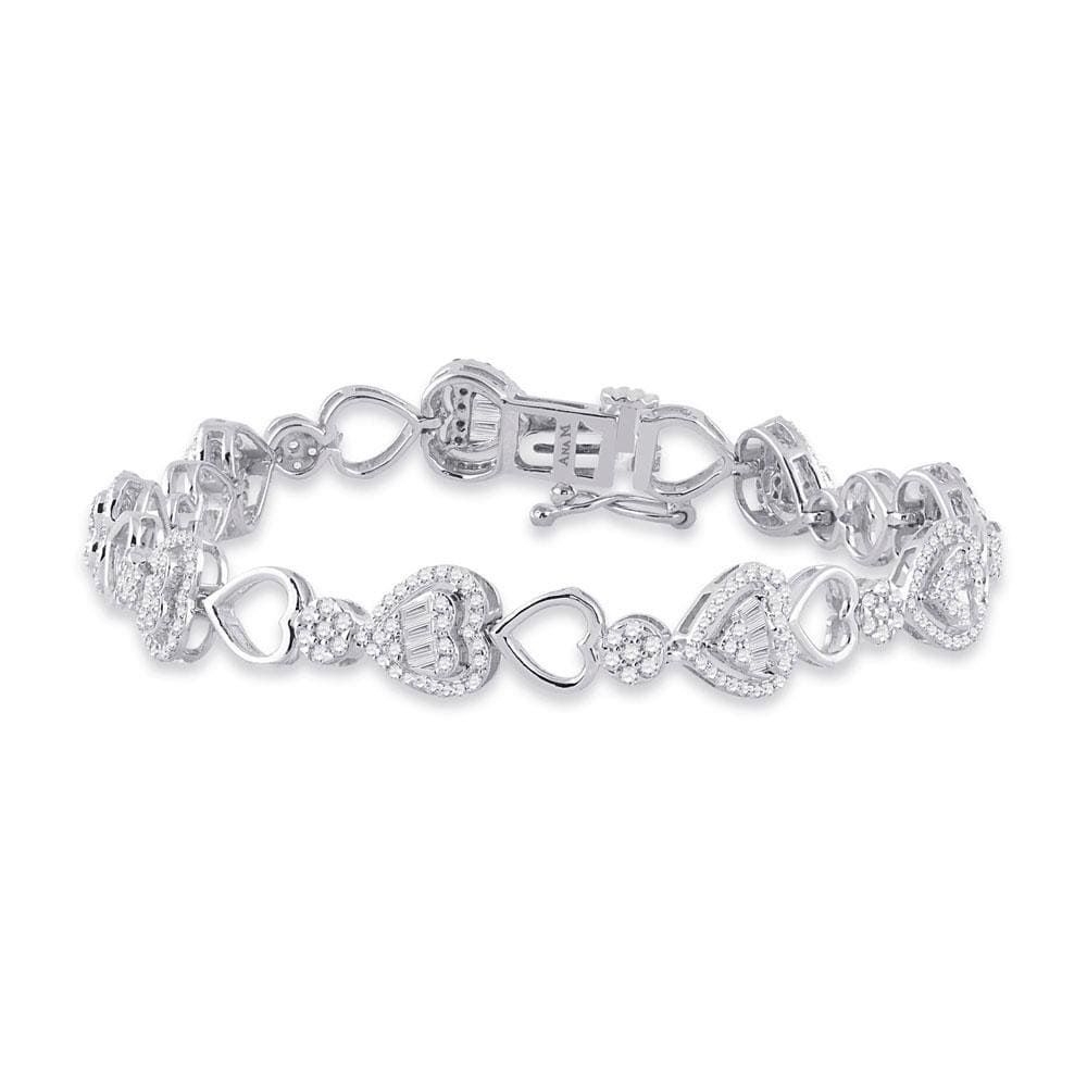 14kt White Gold Womens Baguette Diamond Heart Link Bracelet 2 Cttw