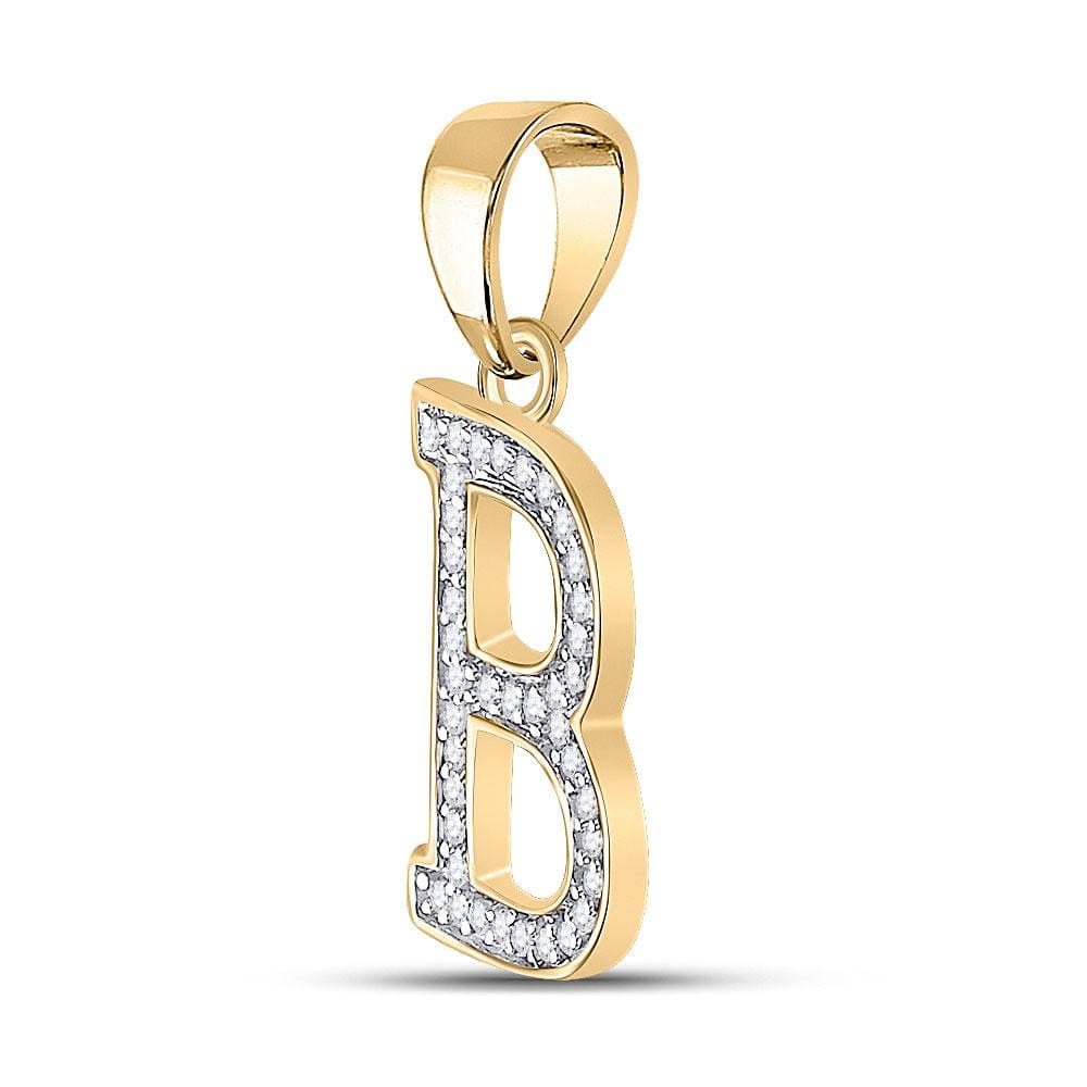 10kt Yellow Gold Womens Round Diamond Initial B Letter Pendant 1/12 Cttw