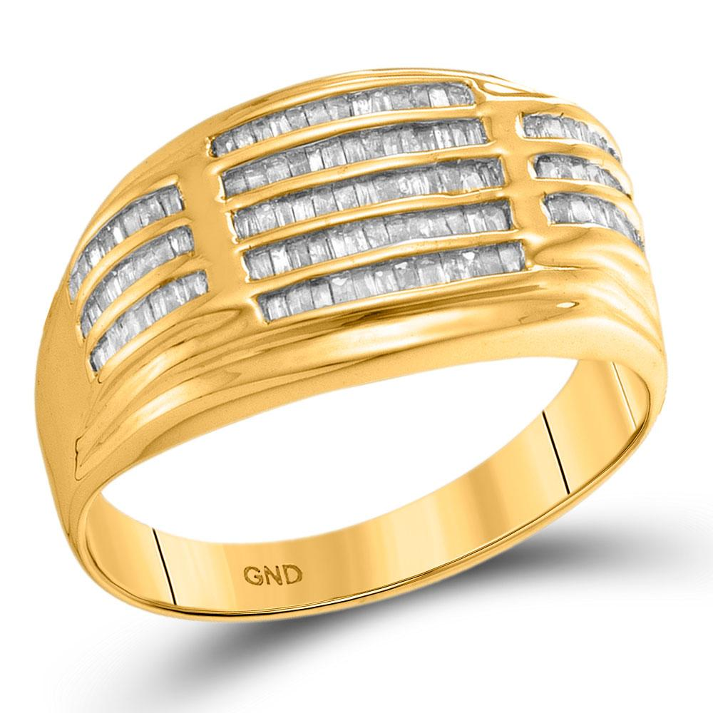 10kt Yellow Gold Mens Baguette Diamond Striped Fashion Ring 1/2 Cttw
