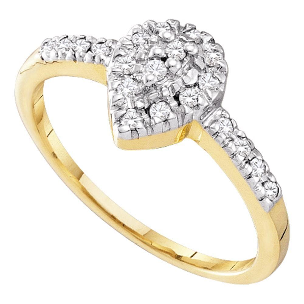10kt Yellow Gold Womens Round Diamond Slender Teardrop Cluster Ring 1/6 Cttw