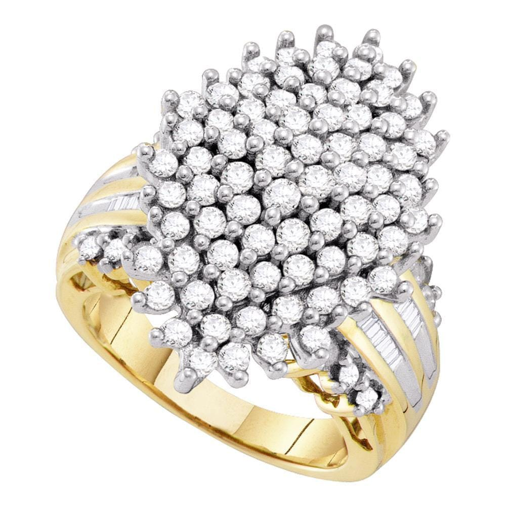 10kt Yellow Gold Womens Round Diamond Oval Cluster Ring 2 Cttw